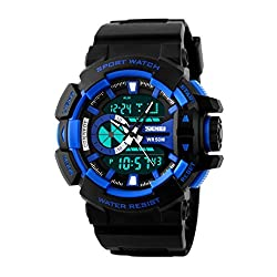 Skmei Sports Double movement Digital chronograph multifunction Analogue Digital Mens watch-1117 -Blue