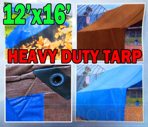 Heavy Duty Brown / Blue Tarp 12 Ft X 16 Ft (3.6 M X 4.8 M) - Maximum Weather Protection