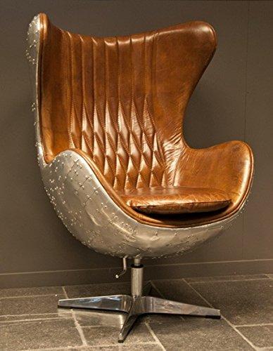 Casa-Padrino-Art-Deco-Egg-Chair-Drehstuhl-Sessel-Aluminium-Echt-Leder-Braun-Club-Sessel-Lounge-Sessel-Vintage-Airplane-Mbel