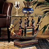 Design Toscano CL2850 Egyptian Barge to the Beyond Glass Topped Sculptural Table