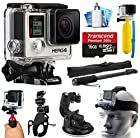 GoPro HERO4 Hero 4 Black Edition 4K Action Camera Camcorder with Extreme Action Sport Accessory Package includes 16GB MicroSD Card + Selfie Stick Portrait Monopod + Bike Handlebar Mount + Car Windshield Suction Cup + Head Helmet Strap + Floating Float Hand Grip Bobber + Mini Tripod + Dust Cleaning Care Kit (CHDHX-401)