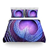 "Kess InHouse Monika Strigel ""Purple Peacock"" Lavender Cotton Duvet Cover, 88 by 104-Inch"