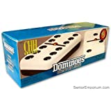 Domino Double Six - Black & White Two Tone Tile Jumbo Size with Spinners