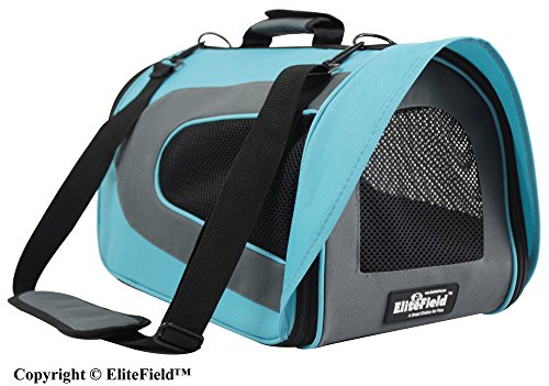 EliteField Deluxe Soft Pet Carrier (3 Year Warranty, Airline Approved), Multiple Sizes and Colors Available (18″L x 10″W x 11″H, Sky Blue+Gray)