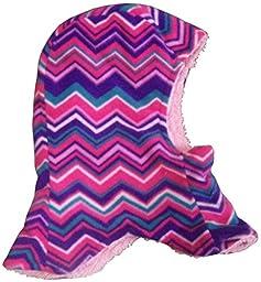 N\'Ice Caps Kids Unisex Sherpa Lined Micro Fleece Balaclava Crusader (2-3yrs, purple/fuchsia/turq/pink)