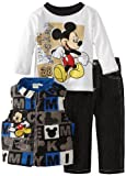 Disney Baby-Boys Infant 3 Piece Mickey Mouse Printed Vest Set
