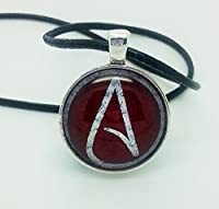 Atheist Logo White and Dark Red, Pendant Necklace