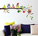 StickersKart Wall Stickers Merry Christmas Winter Owls Decor (Wall Covering Area: 90cm x 70cm)