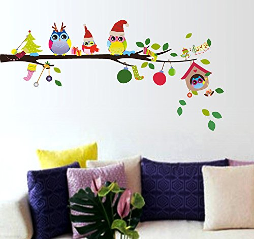 Decals Design StickersKart Wall Stickers Merry Christmas Winter Owls Decor (Multicolor)