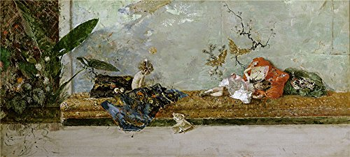 'Fortuny Marsal Mariano The Painter's Children Maria Luisa And Mariano In The Japanese Room 1874 ' Oil Painting, 30 X 67 Inch / 76 X 169 Cm ,printed On Polyster Canvas ,this High Definition Art Decorative Prints On Canvas Is Perfectly Suitalbe For Gym Gallery Art And Home Artwork And Gifts