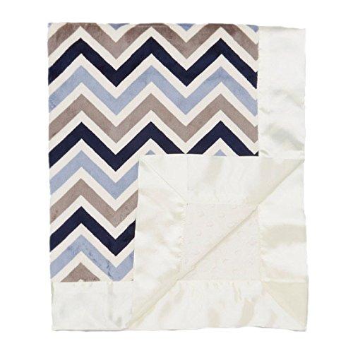 "My Blankee Chevron Minky Multi Silver/Blue w/ Minky Dot Cream Baby Blanket, 30"" x 35"""