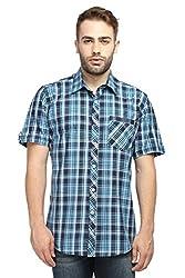 Wajbee Men's 100% Cotton Casual Half Shirt-M