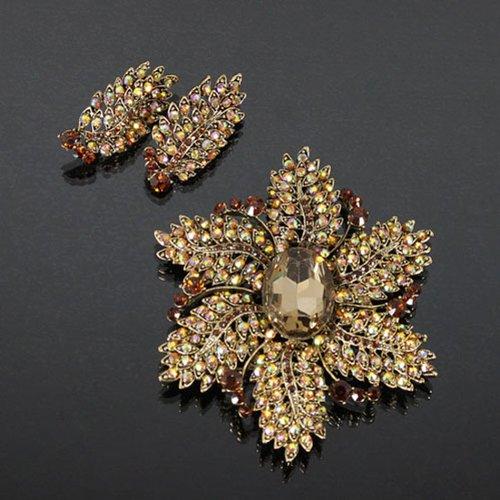 Crystal Flower Brooch/earrings Set Jpe3711-bc28