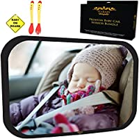 Baby Car Mirror Bundle - Improved Shatterproof Glass - Best Backseat Baby Mirror for Car - The Clearest & Largest - Fully Assembled & Adjustable - Crash-tested- Back Seat Rear-Facing Infant and Sight by Yes Baby