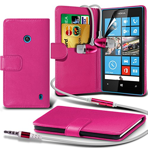 Fone-Case ( Hot Pink ) Nokia Lumia 520 Faux Stylish Pu Leather Wallet Credit / Debit Card Flip Case Skin Cover With Screen Protector Guard & Aluminium In Ear Earbud Stereo Hands Free Headphones Earphone Headset With Built In Microphone Mic & On-Off Button