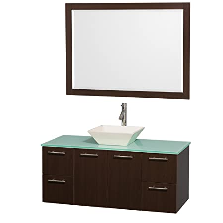 Wyndham Collection Amare 48 inch Single Bathroom Vanity in Espresso with Green Glass Top with Bone Porcelain Sink, and 46 inch Mirror
