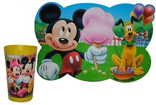 2-tlg-Mickey-Mouse-Set-Trinkbecher-Unterlage-Becher-Trinkglas-Glas