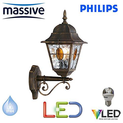 PHILIPS MASSIVE LAMPADA A LED DA PARETE-MUNCHEN 5,9 W & NERA, TRADIZIONALE, FINITURA EFFETTO ORO SPAZZOLATO ESTERNO LANTERN LIGHT-LAMPADINA A LED CON VETRO DECORATIVO-STS