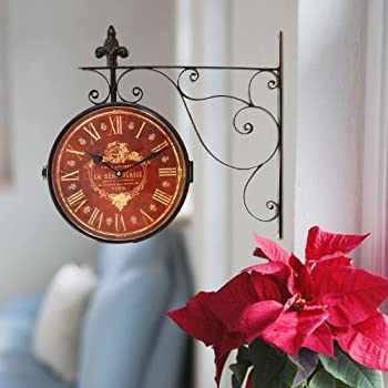 Adeco Iron Red Face Roman Numerals with Scroll Wall Mount Round Wall Hanging Clock Home Decor