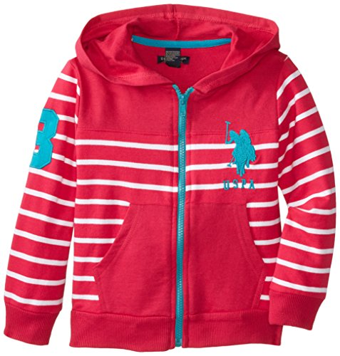 U.S. Polo Assn. Little Girls' Striped French Terry Hoodie With Embroider Horse, Berry Bug, 6X