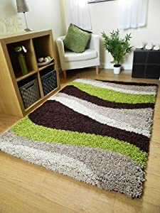 Small Extra Large Rug Modern Soft Thick Green Brown Beige Waves Shaggy Rug Non Shed Shag Runners (6 Sizes Available) from RUGS SUPERSTORE