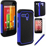 MOTO G case,EC™ Shock Absorbing Dual Layer Hybrid Case, Heavy Duty Protective Armor Case Cover for Motorola Moto G with Sreen Protector and Stylus Pen (Dark Blue)