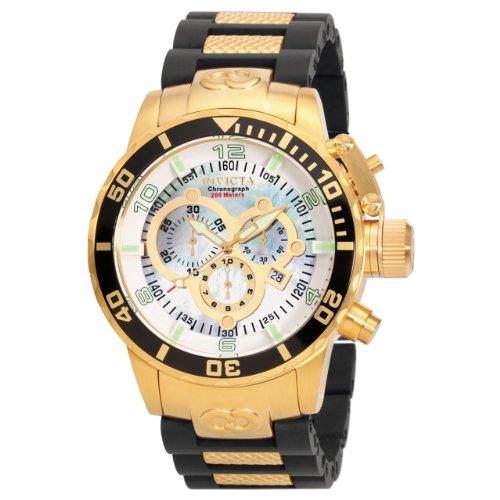 Invicta Men's 0478 Corduba Collection Chronograph Black Polyurethane and 18k Gold-Plated Watch