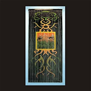 Earth nature door curtain hand painted gateways 100 for Hand painted bamboo beaded curtains