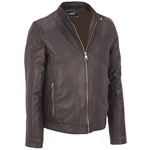 Black Rivet Mens Band Bottom Faux-Leather Jacket Xl Brown