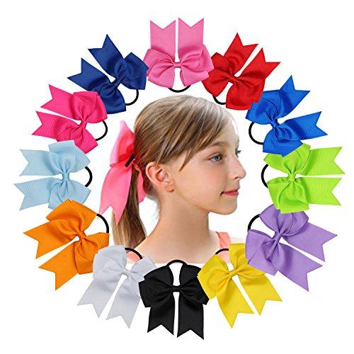 mumcraft-12pcs-45-grosgrain-ribbon-boutique-cheer-bows-hair-bowknot-bowtie-ponytail-holder-elastic-h