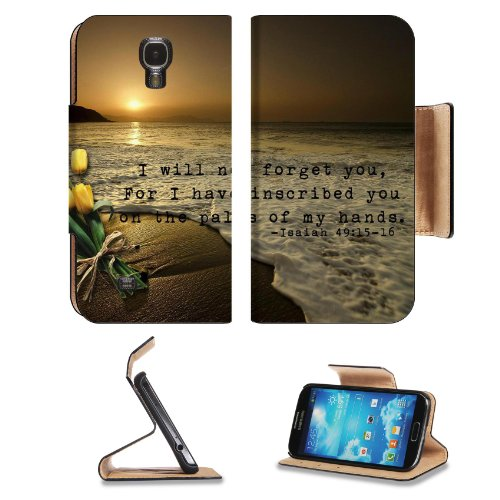 """Christian Bible Verses Isaiah 49:15-16 """"Not Forget You"""" Samsung Galaxy S4 Flip Cover Case With Card Holder Customized Made To Order Support Ready Premium Deluxe Pu Leather 5 1/2 Inch (140Mm) X 3 1/4 Inch (80Mm) X 9/16 Inch (14Mm) Msd S Iv S 4 Professional"""
