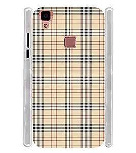 Check Pattern Soft Silicon Rubberized Back Case Cover for Vivo V3