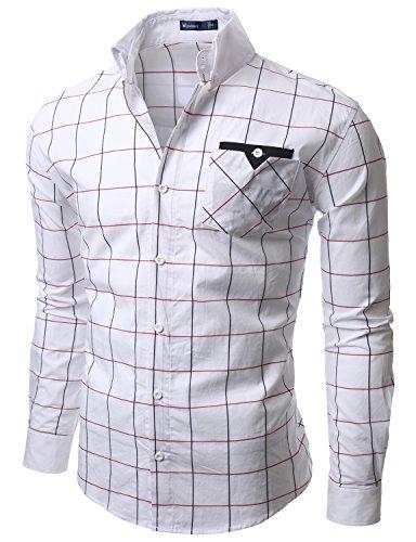 Doublju Mens Plaid Slim Dress shirts WHITE (US-L)