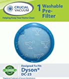 1 Dyson DC-23 Long Life Washable & Reusable Pre-Filter, Replaces Dyson DC23 Part # 913394-01; Designed & Engineered by Crucial Vacuum