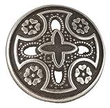 "Medieval Templar Cross Button 3/4"" (19mm). Antique Silver Finish"