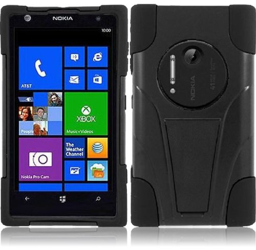 Lf Dual Protection Hybrid Case With T Stand, Lf Stylus Pen & Lf Screen Wiper Bundle Accessory For At&T Nokia Lumia Elvis 1020 (Black / Black)