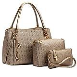 Coofit® Frauen Weinlese Leder Handtaschen Schulter Beuteltote Schultaschen Hobo Set Gold