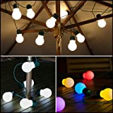 12 Solar Powered Outdoor Garden Party Festoon Globe Lights (Colour Changing)