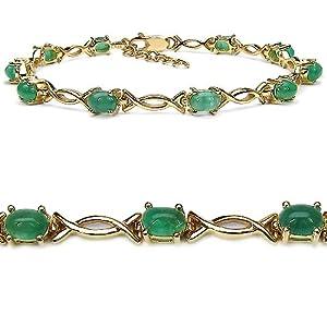 Goldancé - Damen Armband 925 Silber vergoldet Smaragd 19cm B216E