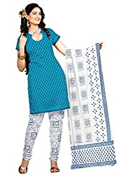 DARPAN TEXTILES Ethnicwear Women's Dress Material TURQUOISE Free Size