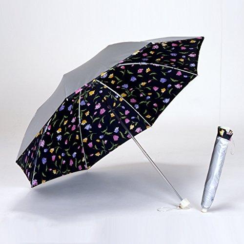 UVカット 晴雨兼用 遮光 日傘/折傘 シルバー/チューリップブラック<ひんやり傘> 折りたたみ