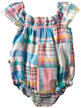 Hatley - Baby Girls Infant Ruffled Shortall, Madras Patchwork, 18-24 Months
