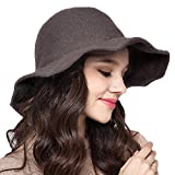 Maitose™ Frauen Wide Brim Strickwolle Bucket Hat Coffe