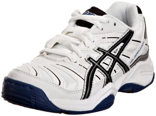 ASICS Junior Gel Resolution 4 Oc Gs White/Black/Lightning Sports Tennis And Racquet Sports C211Y 0190 1 UK
