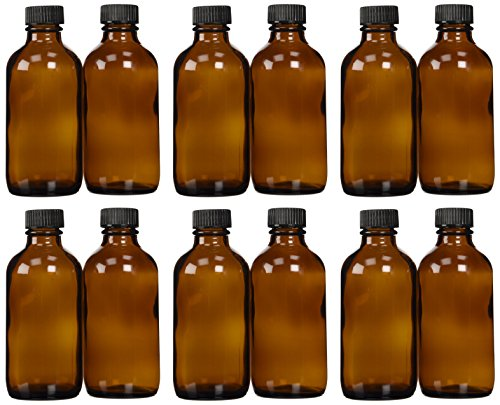 Amber Glass Bottle 4oz w/Lid (12 Pcs) (4 Ounce Glass Bottles compare prices)