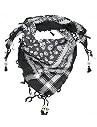 Black & White Skull Scarf for Men and Women - Cotton square skull desert scarves