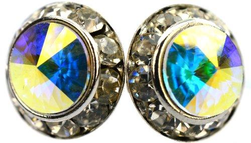 Gorgeous 12 Mm Iridescent Aurora Borealis Swarovski Crystal Elements Round Rondelle Stud Earrings, Tarnish Resistant Rhodium Plated With Hypoallergenic Posts
