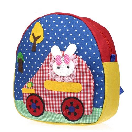 Deer Mum Children'S Backpacks 3D Cartoon Design Polka Dots Schoolbags Shoulder Bags (Car-Blue-1) front-718082
