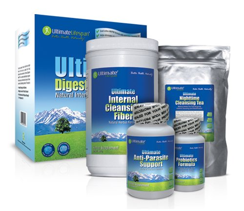 Ultimate Digestive Health - 4 Part Complete Internal Cleansing System From Ultimate Lifespan. Includes Cleansing Tea, Fiber, Anti Parasite, and Probiotics
