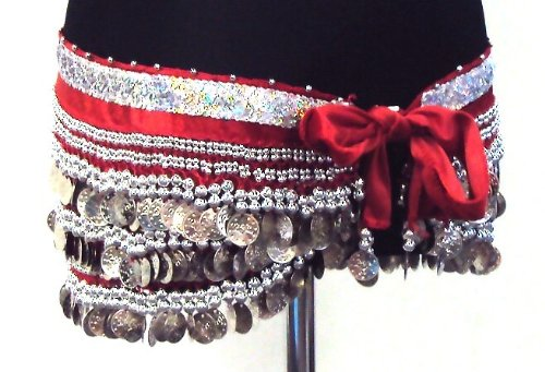 Professional Belly Dance 3 Rows Hip Scarf Belt Chain Velvet Skirt Wrap -- RED